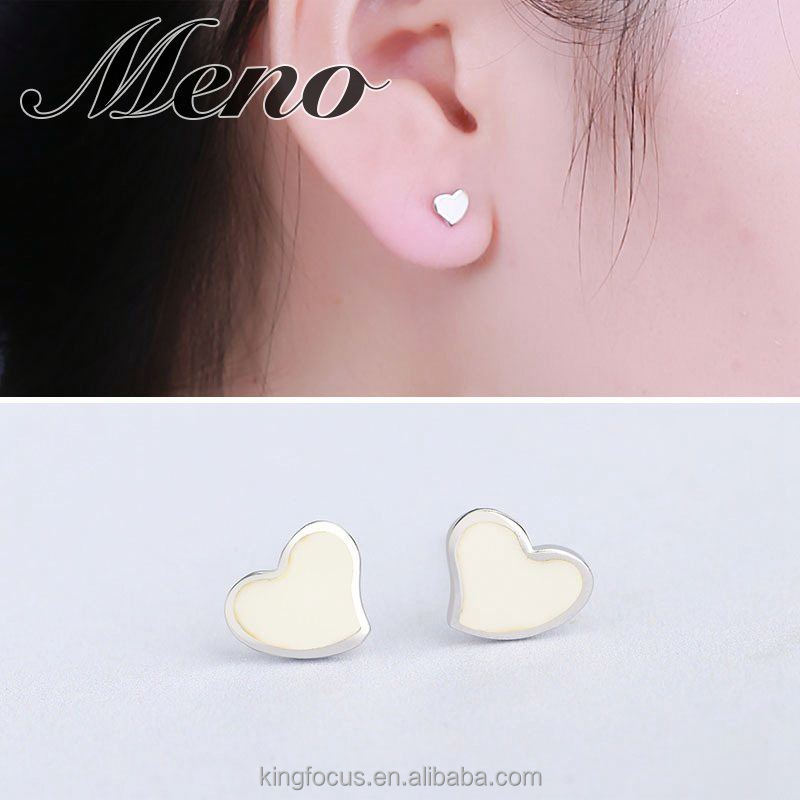 Meno S925 silver resin drop heart shaped stud- white fashion stud