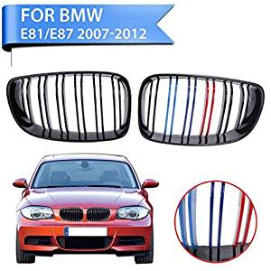 Jade Onlines Gloss Black + M-color Front Grill For BMW 1 Series E81 E87 E82 E88 128i 135i
