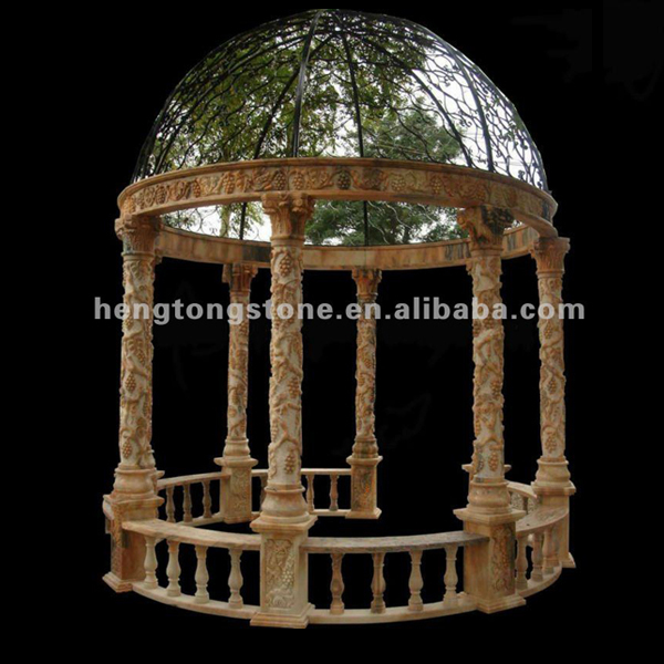 Marble Garden Gazebo With 6 Columns And Wrought Iron Dome