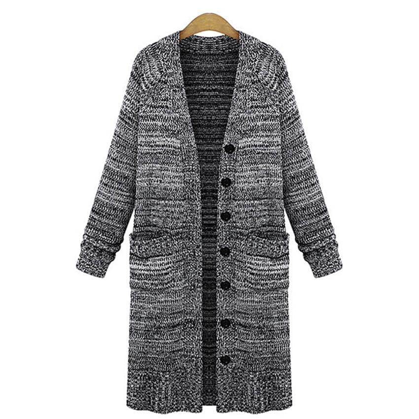 Single Breasted Pockets Casual Long Knitted Women Cardigans 2015 Fashion European Ladies Autumn Loose Sweaters Gray Pull Femme
