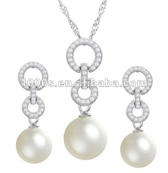 Rhodium Plating 925 Sterling Silver Pearl Bridal Jewelry Set