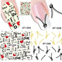 5pc Nail stickers Popular nail art water transfer nails decals gel polish Eiffel Tower Map Love