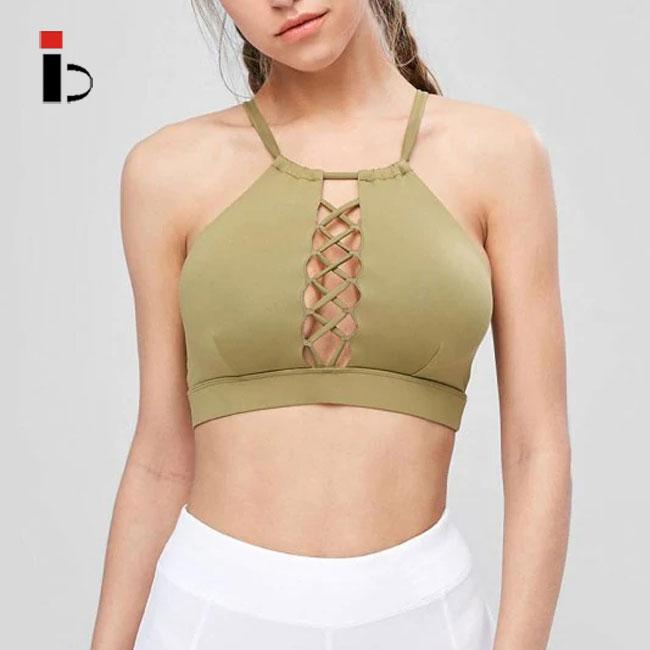 Elegant ที่กำหนดเอง fashional ฟิตเนสโยคะ Bra ผู้หญิงในกองทัพสีเขียว