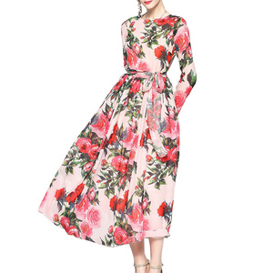 Woman Chiffon Floral Print Long Sleeve Maxi Dress