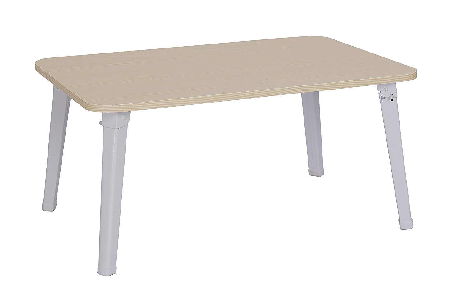 """MULSH Laptop Desk Bed Table Laptop Bed Tray Notebook Table Foldable Breakfast Serving Tray For Sofa Bed with Metal Legs and MDF Top Board in White Oak,23.62""""W X15.75""""D X11.3""""H"""