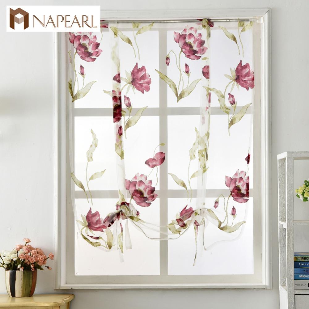 Napearl Estilo Romano Design Floral Cortinas Da Janela Da Cozinha
