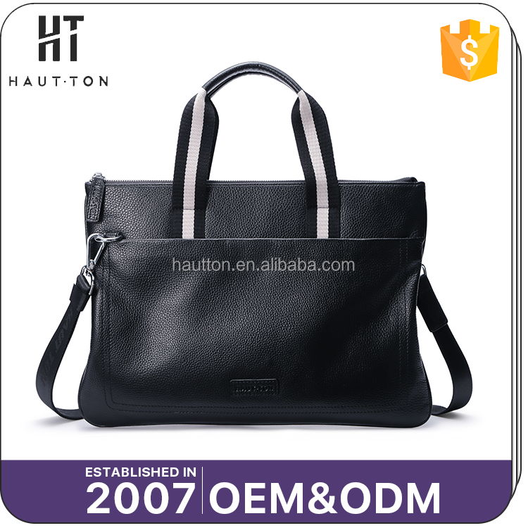 Top Selling Fashion Man Business Multi-function Shoulder Bags Wholesale Custom Logo Black Genuine Cow Leather Briefcases