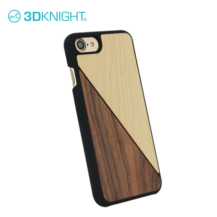 Natural maple + walnut wood phone case for iPhone 7 covers black pc