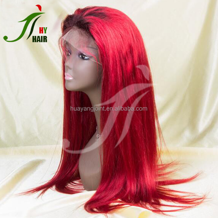 8A Virgin Brazilian Human Hair Burgundy Full Lace Wigs Silky Straight Lace Front Two Tone Ombre Red Hair Wig with Baby Hair