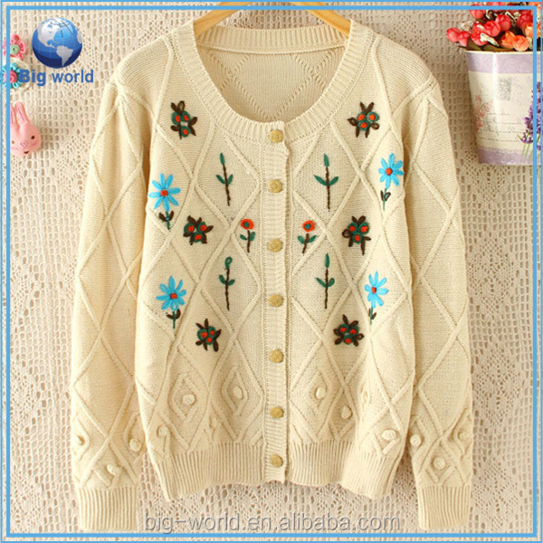 BIGWORLD Fashion cotton sweater women knitwear embroider flower cardigan sweater wholesale