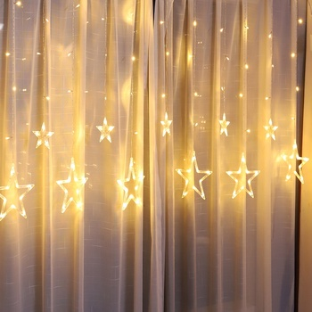 China supplier Warm white 12 big stars led string fairy light 3M 138Leds curtain light Christmas home lighting Ramadan