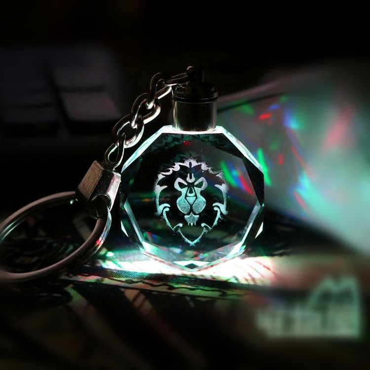 world of warcraft alliance crystal keychain with led light for game souvenir