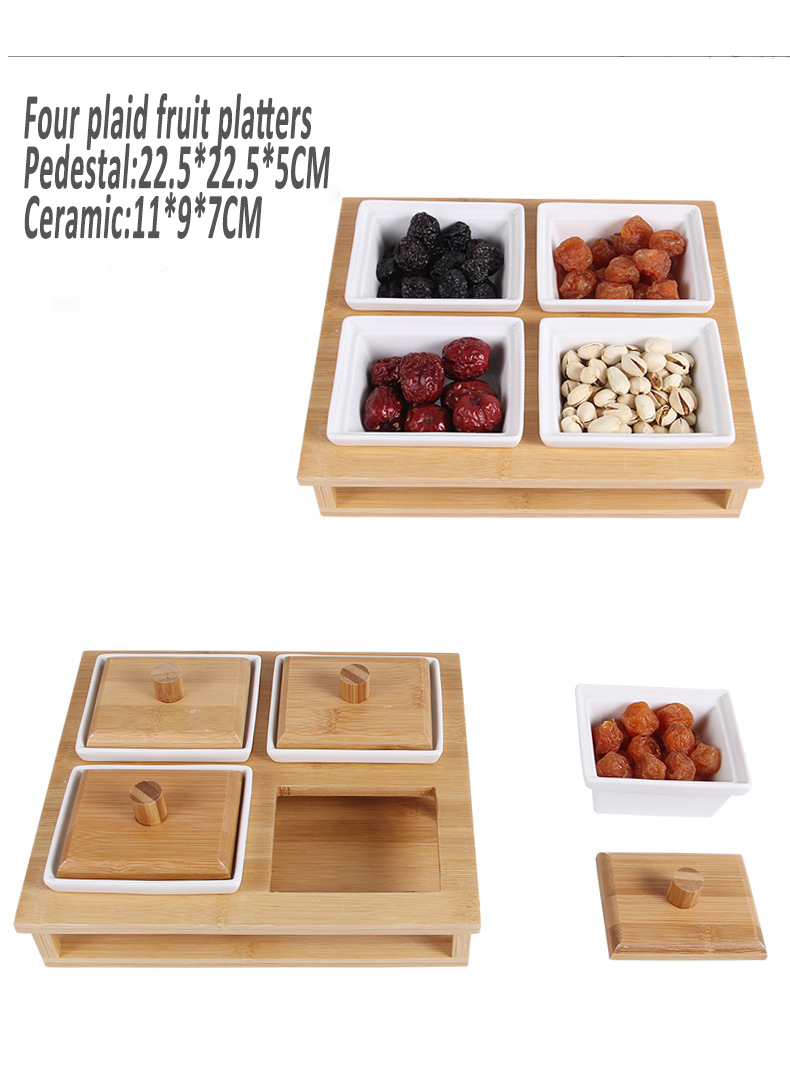 Creative dry fruitdividedbox with wooden cover, high quality ceramic boxes candy snack platter