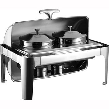 Restaurant buffet food warmer stainless steel chafer roll top chafing dish for hotel
