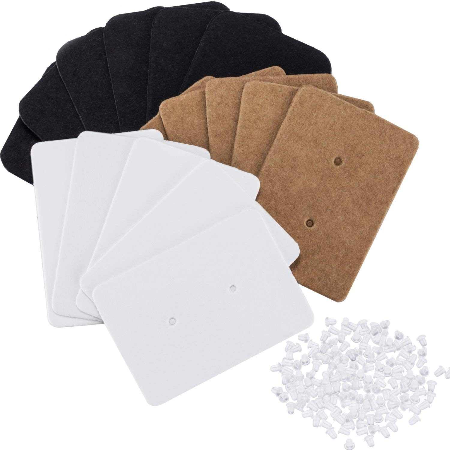 Canomo 300 Pieces Paper Jewelry Earring Display Cards Ear Stud Tags with 600 Pieces Clear Rubber Bullet Clutch Earring Safety Backs