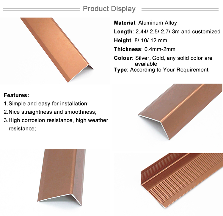 Aluminum Trim Strip Vinyl Floor Anti-Slip Stair Nosings