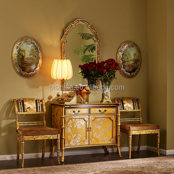 Vintage Bamboo Design Sideboard/Buffet, Gilt Floral Painted Wooden Furniture Living Room Cabient With Chairs