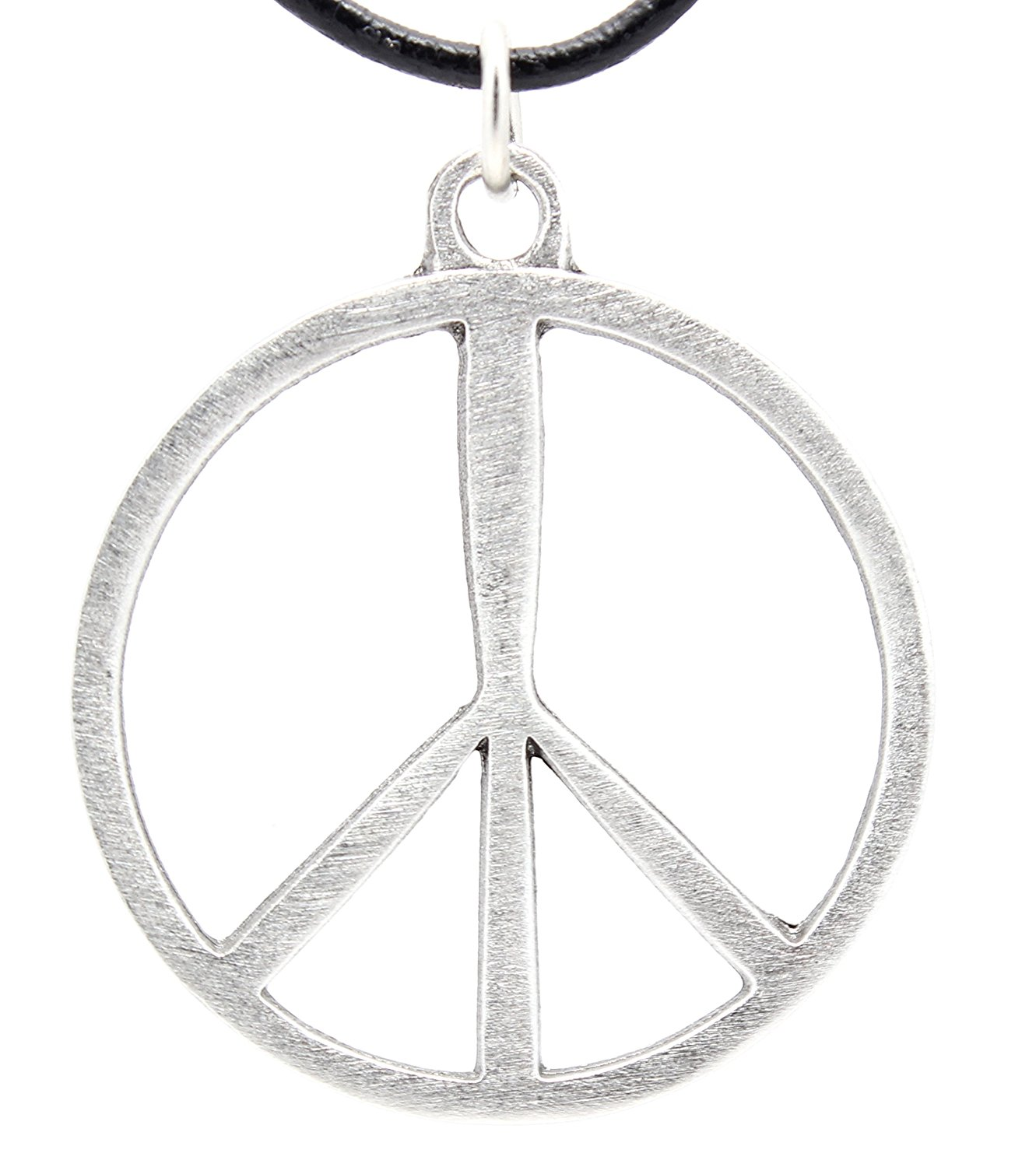Pewter Classic Peace Sign 60s Hippie Pendant on Leather Necklace