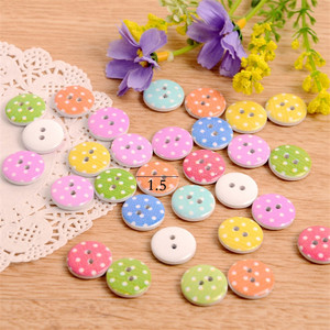 Candy Color Round Dot Printed Wooden Buttons for Garment
