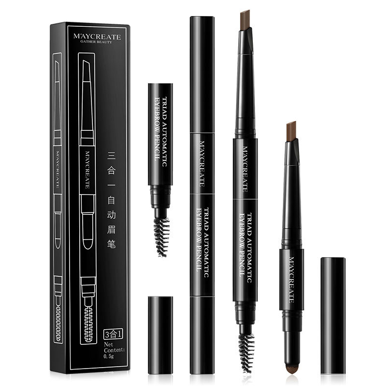 MayCreate Brand 3 in 1 Eye Brows Set for Women Waterproof Brow Pencil + Powder + Brush Pigment Black Brown Eyebrow Kit Makeup