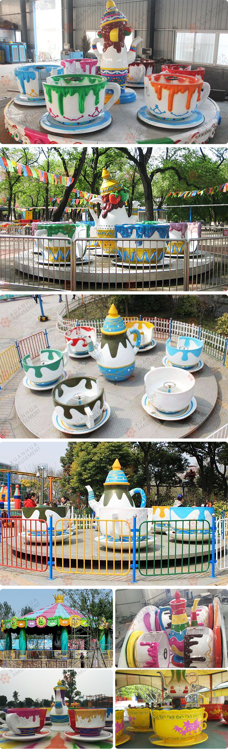 Theme park amusement teapot ride amusement park coffee cup equipment spinning teacup ride