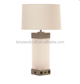 White Glass Tube Nightstand Table Lamp With Power Outlet And Usb ...