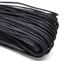 Wholesale Black Waxed Cotton Necklace Cord 2mm