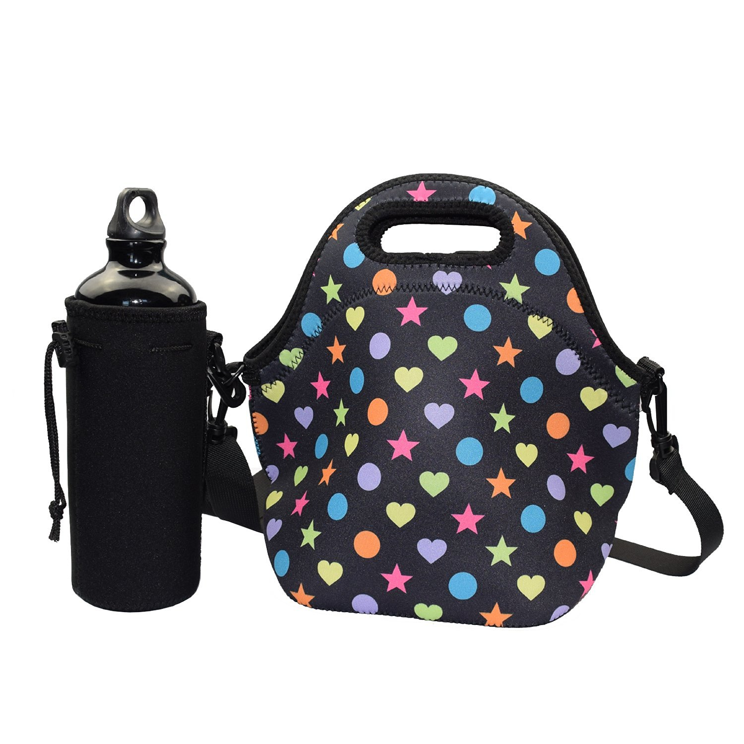 Lunch Bag with Water Bottle Holder - YAMAY® Neoprene Insulated Lunch Tote  Bag Cooler with e28b7b22e37e5