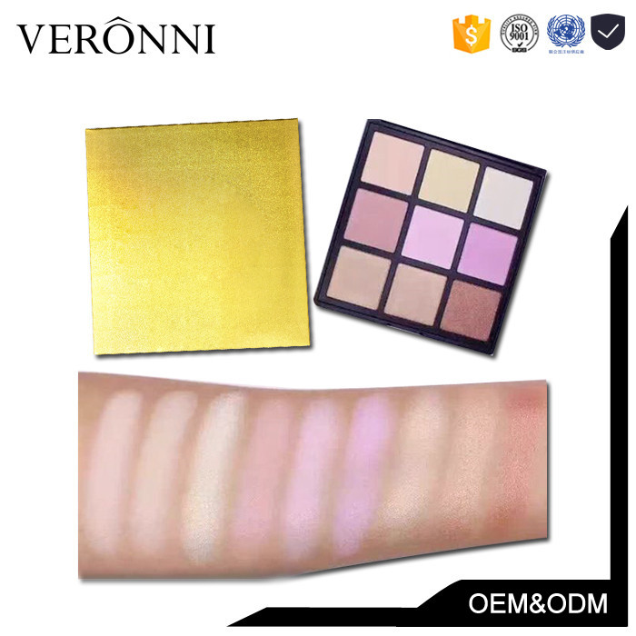 Popular Cosmetic Golden Package Highlight Palette 9colors Waterproof Eyeshadow Private Label