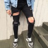 Latest design printed denim jeans manufacturers wholesale men patched stretch destroyed jeans