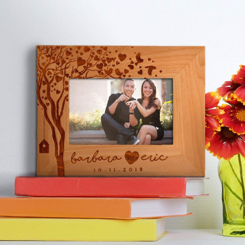 Be Burgundy - Personalized Photo Frame for Couples - Love Tree & Birds , Picture Frame - Custom Christmas Gift Frame - Birthday Gift, Valentine's Day Gift - 4x6 | 5x7 | 8x10 Size Options