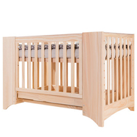 No. 1251 Multifunctional Non Painted Crib Solid Wood Baby Cot