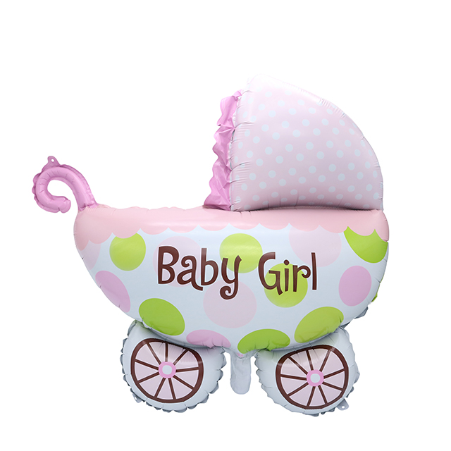 Sky City baby carriage shape foil balloon PInk baby shower birthday party decoration