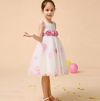 023e0a099a50 Blossom pink Silk Bodice Tulle Skirt Dress with Flower Sash prom dresses  with big bow back