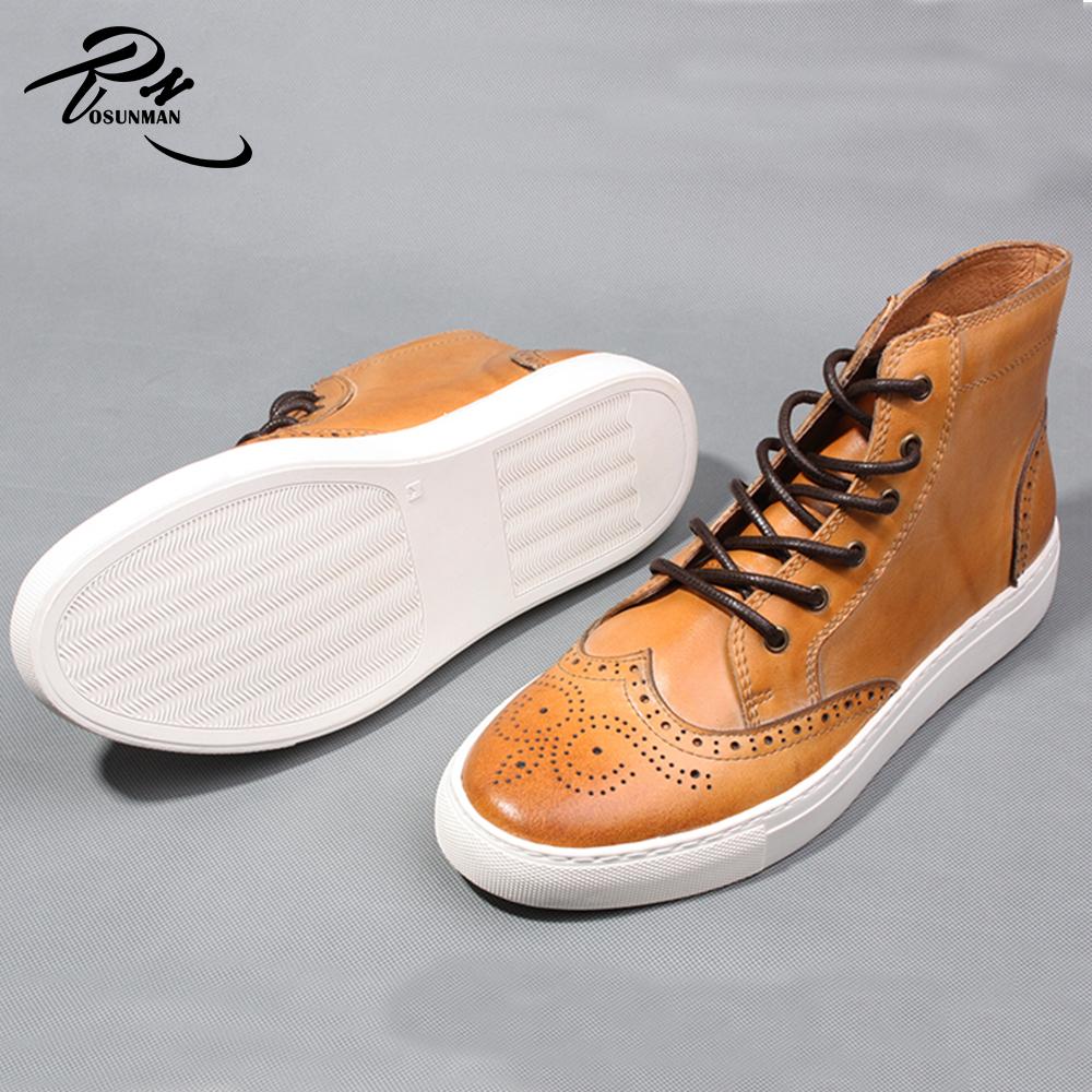 boots men Newest brogue shoes leather fashion high male design 2016 ankle sneaker qfxwz4Uq