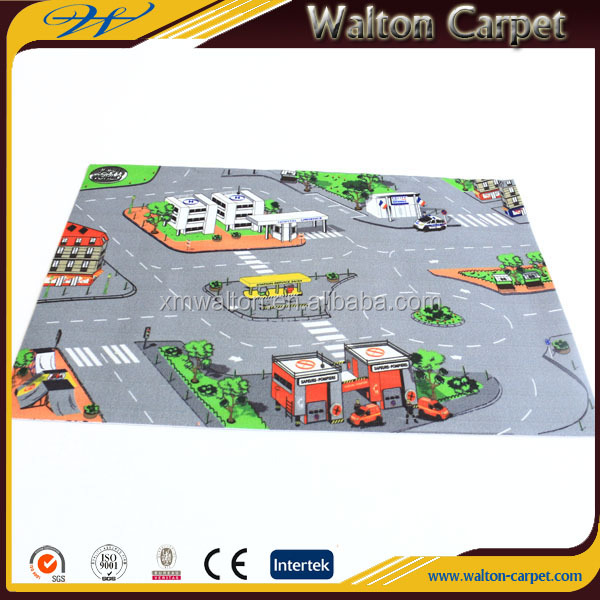 Road map PVC backing non slip eco-friendly play mat for kids