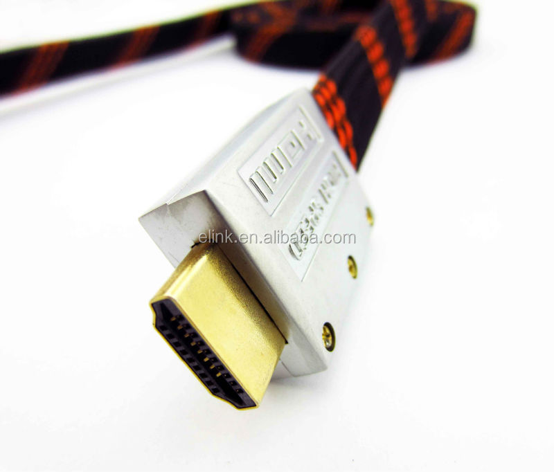 flat hdmi metal cable Black Metal Plug Flat HDMI Cable Male to Male