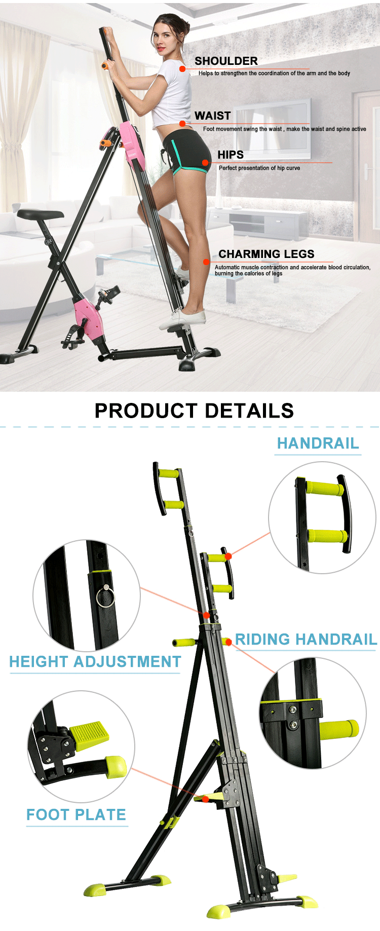 Body Building stair steel maxi climber vertical climber
