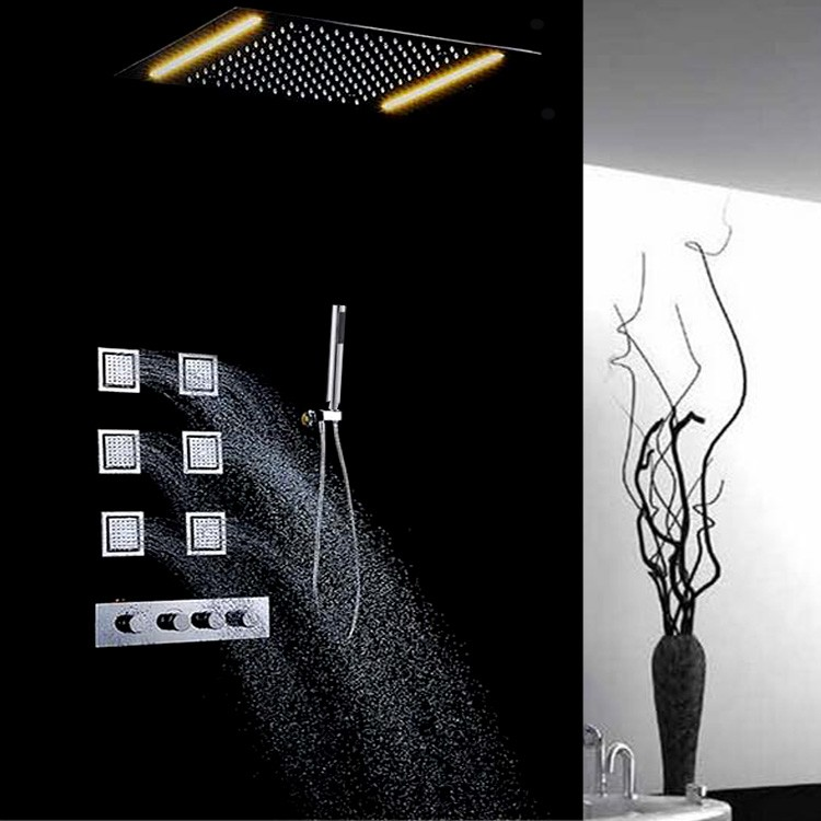 "16"" stainless steel golden plated led color change ceiling light shower"