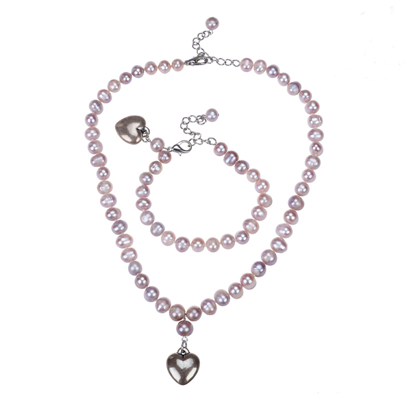 fashion style pink pearl alloy jewelry set