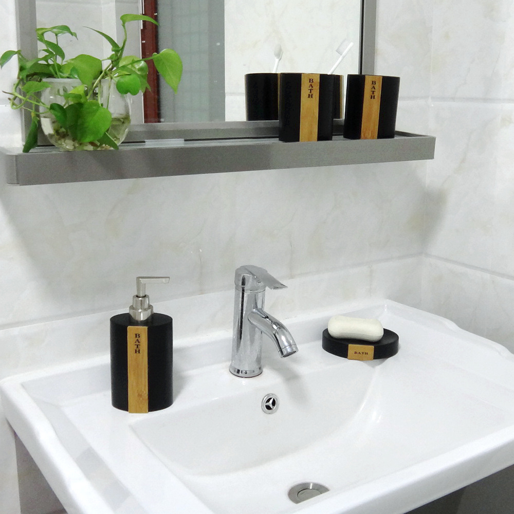 Hot sales factory direct export bamboo bathroom ware shower room accesory set