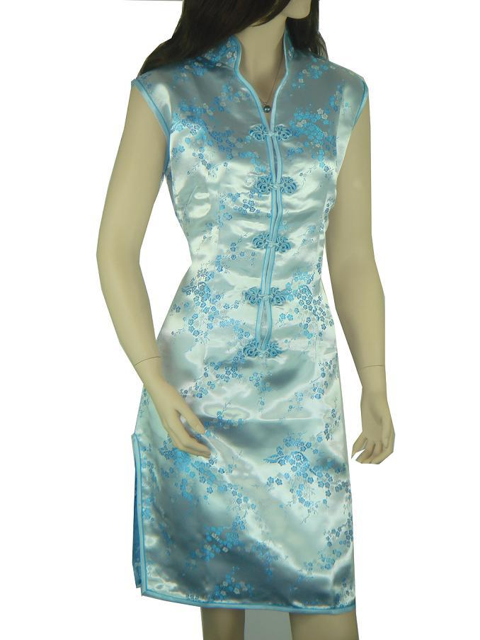 407c35df3 Get Quotations · Light Blue Chinese Women's Mini Sexy Cheongsam Top V-Neck  Short Qipao Evening Party Gown
