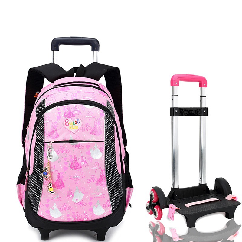 2b6a34ba5b82 Women Backpack Trolley School bag For Girl Tie Rod Trolley Luggage Bag  Children SchoolBags For Girls Wheeled Backpack   Bags