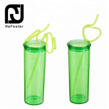 Creative design transparent plastic straw drinking cup
