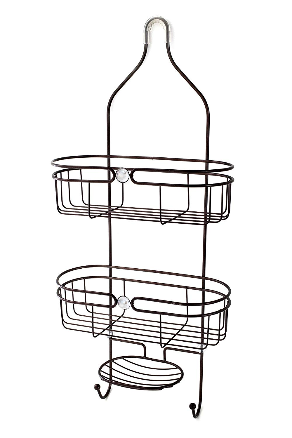 "Splash Home Tailor Shower Caddy Bathroom Hanging Head Two Basket Organizers Plus Dish, 25.5"" x 5"" x 11.5"", Oil Rubbed Bronze"