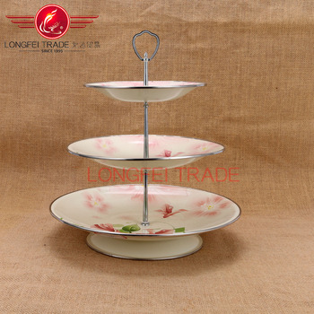 Luxurious Multi-layer Enamel Fruit / Cake Stand Plate with Decal for Wedding home fruit & Luxurious Multi-layer Enamel Fruit / Cake Stand Plate With Decal For ...