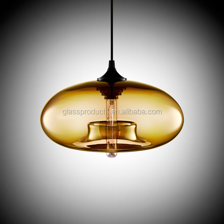 Custom Decorative Industrial Vintage Blown Colored Glass Pendant Ceiling Light Lamp
