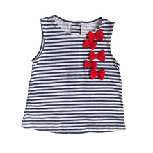 Factory Direct Sale Adorable Red Bowtie Strips Sleeveless Baby Girl T Shirt