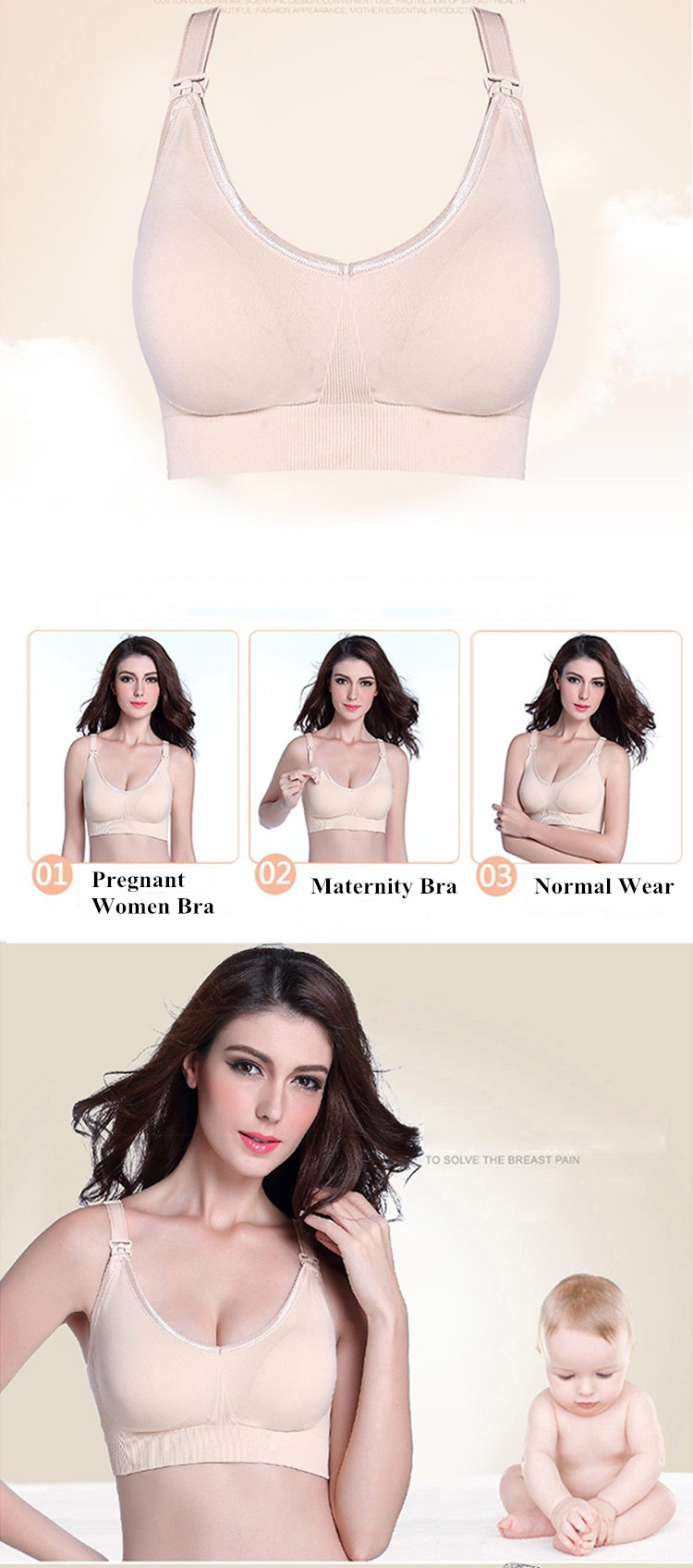 Gather Underwired Maternity Bras Nursing Bra Upper Buckles Pregnant Women Bra Plus Size