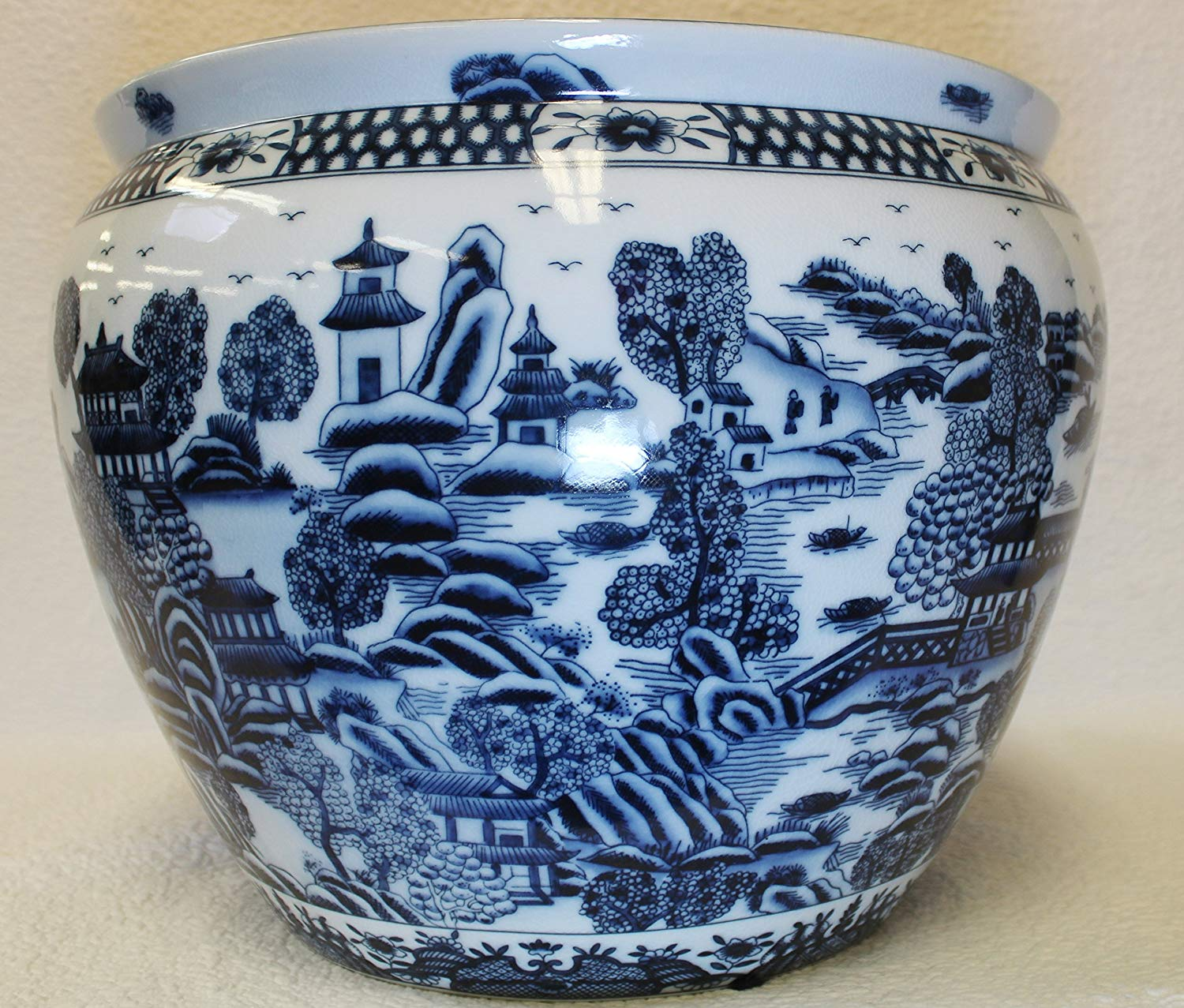 Forgotten City Blue and White Porcelain Fish Bowl 16""